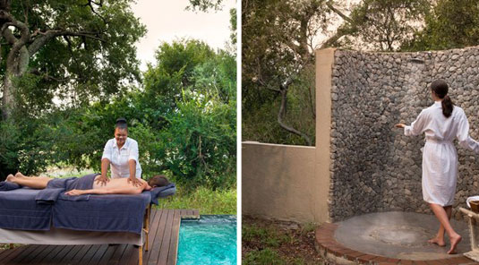 Enjoy a private spa massage and outdoor shower at your Luxury Suite at Dulini River Lodge located in the Big 5 Sabi Sand Private Game Reserve