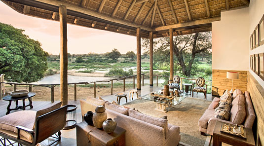 Deck view from Dulini River Lodge located in the Big 5 Sabi Sand Private Game Reserve, South Africa