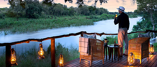 Lion Sands Tinga Lodge Sabi Sand Private Game Reserve wooden viewing deck Sabie River Accommodation Booking