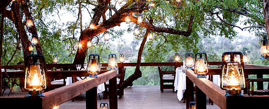 Tree Camp Main Lodge Spectacular game viewing dining deck Londolozi Private Game Reserve Sabi Sand Private Game Reserve Accommodation Booking