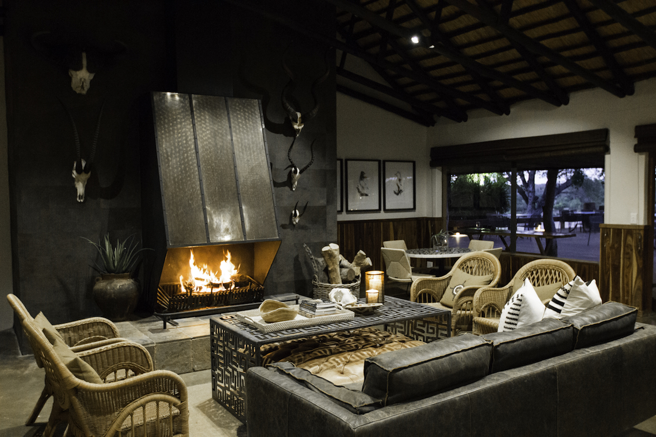 Main Camp Lounge Fireplace Mala Mala Main Camp Mala Mala Private Game Reserve Sabi Sand Private Game Reserve Accommodation Booking