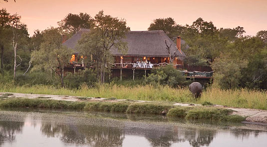 Simbambili Game Lodge Sabi Sands Main Lodge view waterhole Luxury Accommodation Sabi Sands Reserve Accommodation bookings