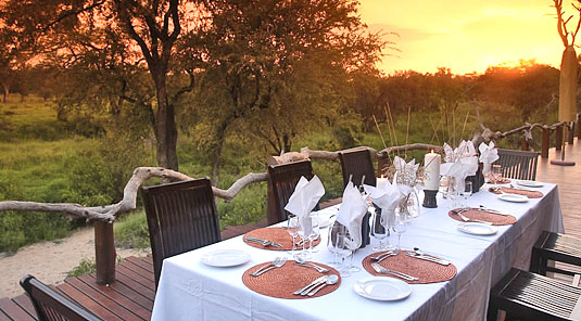 Simbambili Game Lodge Sabi Sands Main Lodge Deck Dining Luxury Accommodation Sabi Sands Reserve Accommodation bookings