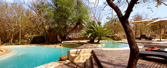 Main Lodge Swimming Pool at Safari Lodge, Ulusaba Private Game Reserve located in the Sabi Sand Private Game Reserve